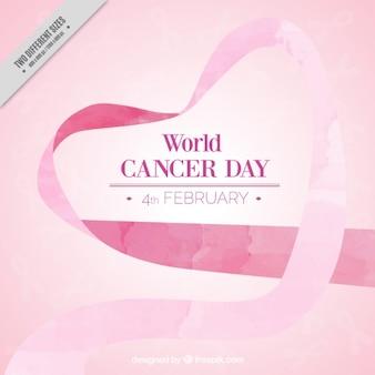Fondo de lazo rosa de acuarela del día del cáncer