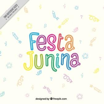 Fondo de letras de colores con dibujos de fiesta junina