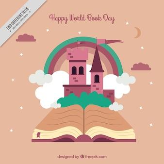 Fondo de libro abierto con castillo y nubes