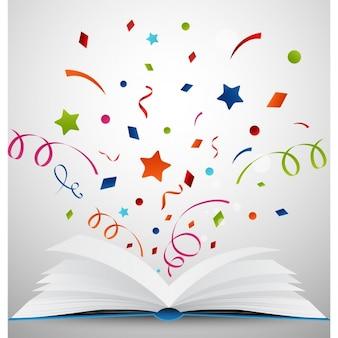 Fondo de libro abierto con confetti
