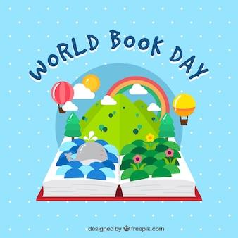 Fondo de libro abierto con mundo imaginario