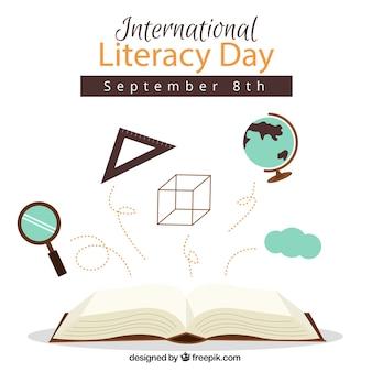 Fondo de libro sobre ciencias para el día de la alfabetización