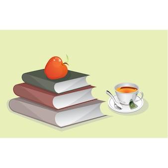 Fondo de libros y té