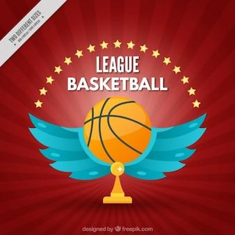 Fondo de liga de baloncesto de balón con alas