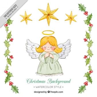 Fondo de lindo ángel y detalles de muérdago de acuarela
