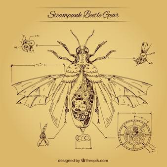 Fondo de los engranajes de un escarabajo