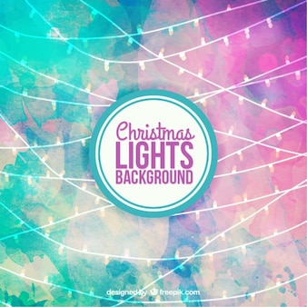 Fondo de luces de navidad de acuarela
