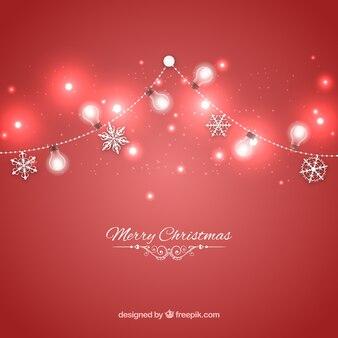 Fondo de luces rojas de navidad