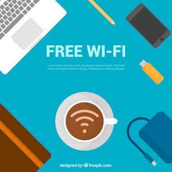 Fondo de lugar de trabajo con wifi