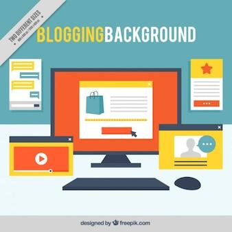 Fondo de lugar de trabajo de un bloguero con capturas de pantalla