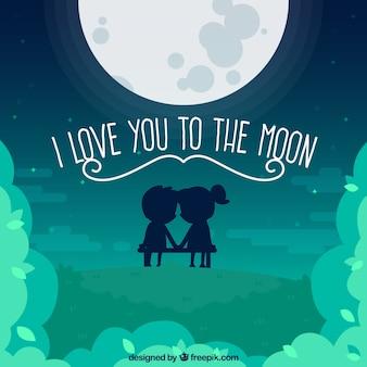Fondo de luna con linda pareja y mensaje romántico