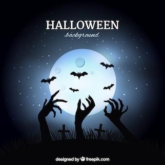 Fondo de luna con manos de zombi saliendo de la tierra