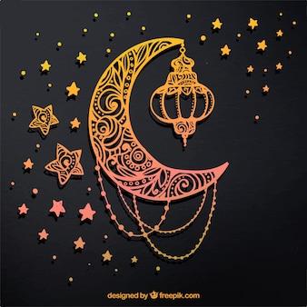 Fondo de luna y estrellas doradas dibujadas a mano