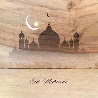 Fondo de madera de eid mubarak