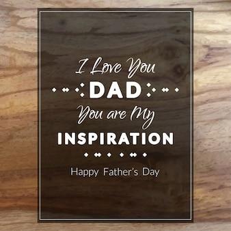 Fondo de madera de feliz día del padre con una bonita frase