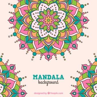 Fondo de mandala floral dibujado a mano