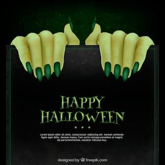 Fondo de manos de monstruo con uñas verdes