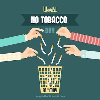 Fondo de manos tirando cigarrillos