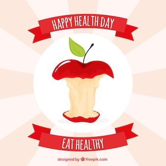 Fondo de manzana mordida para el día de la salud