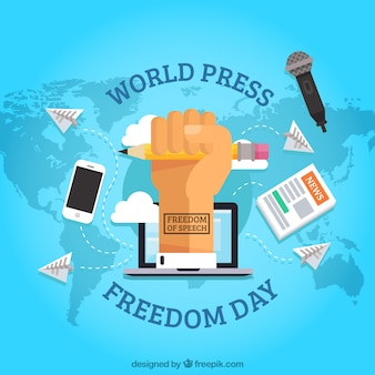 Fondo de mapa con puño reivindicando la libertad de prensa