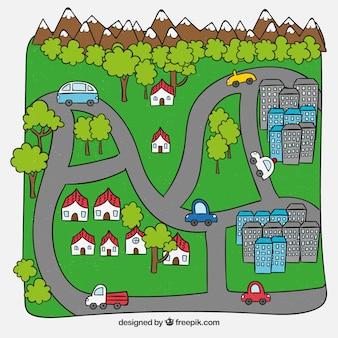 Fondo de mapa de ciudad dibujada a mano