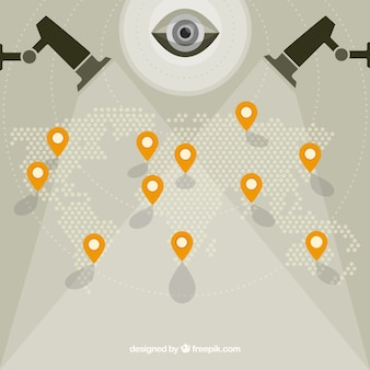 Fondo de mapa del mundo con cámaras de vigilancia
