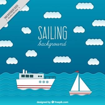 Fondo de mar con barcos en diseño plano