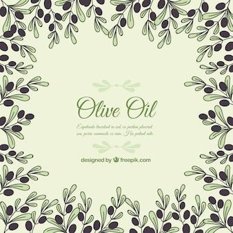 Fondo de marco con ramas y olivas