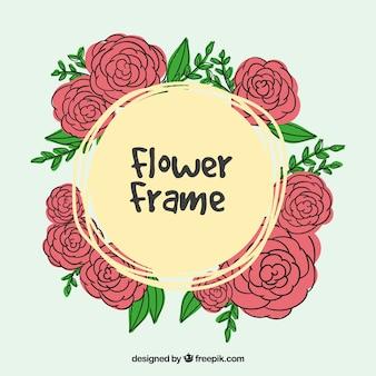 Fondo de marco de rosas dibujadas a mano