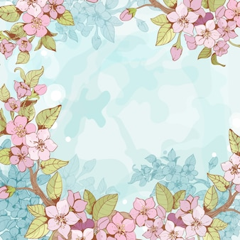 Fondo de marco de sucursal de Sakura