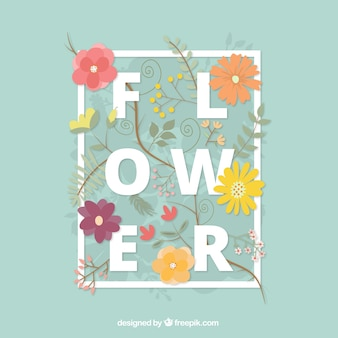 Fondo de margaritas dibujadas a mano y flores con hojas