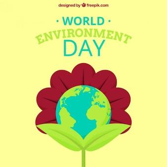 Fondo de medio ambiente con gran flor y planeta tierra