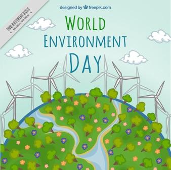 Fondo de medio ambiente dibujado a mano con energía renovable