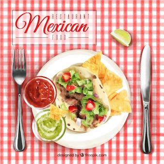 Fondo de menú de comida mexicana de acuarela