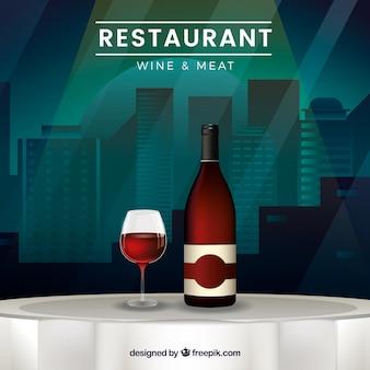 Fondo de mesa de restaurante con botella de vino y copa