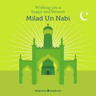 Fondo de mezquita verde para Mawlid