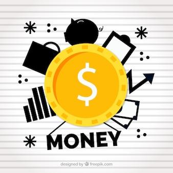 Fondo de moneda con artículos de negocios negros
