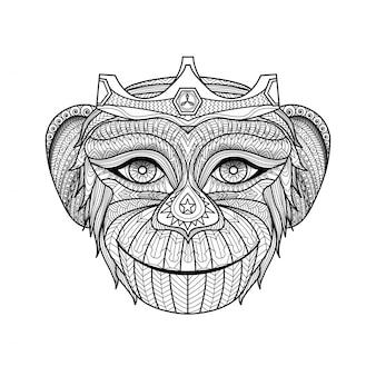 Fondo de mono dibujado a mano