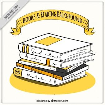 Fondo de montón de libros dibujados a mano