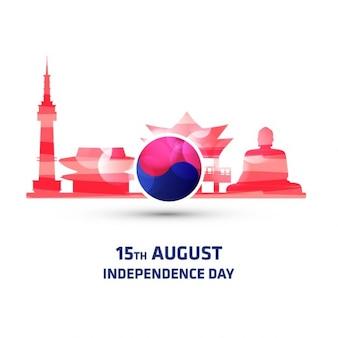 Fondo de monumentos del día de independencia de corea del sur