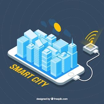 Fondo de móvil con wifi y ciudad inteligente