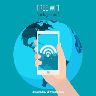 Fondo de móvil conectado al mundo