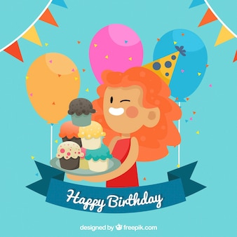 Fondo de mujer con magdalenas y globos de cumpleaños