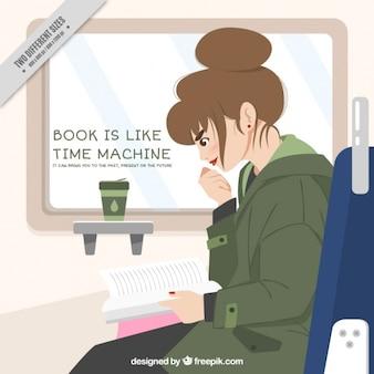 Fondo de mujer leyendo y frase