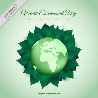 Fondo de mundo con hojas verdes