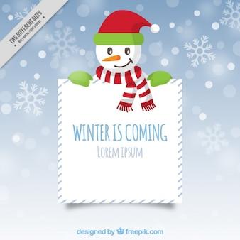Fondo de muñeco de nieve con cartel