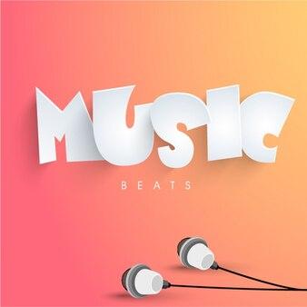 Fondo de música con auriculares