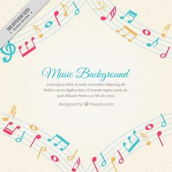 Fondo de música con notas musicales de colores