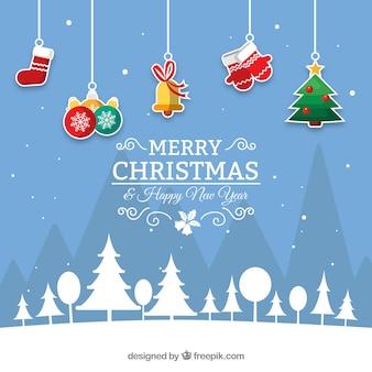 Fondo de navidad azul con decoración colgando