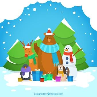 Fondo de navidad con animales